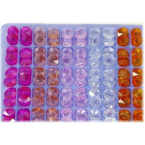 14mm octagons - mixed peach pack