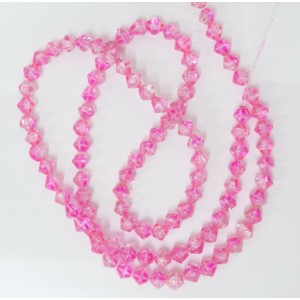 8mm glass bicone beads - hot pink crackle