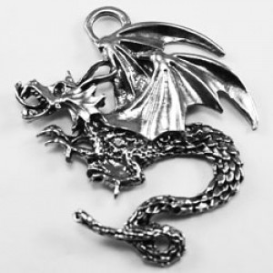 Pewter dragon charm #13