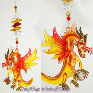 Blown Glass Dragon Suncatcher - DRSC004