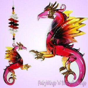 Blown Glass Dragon Suncatcher - DRSC006