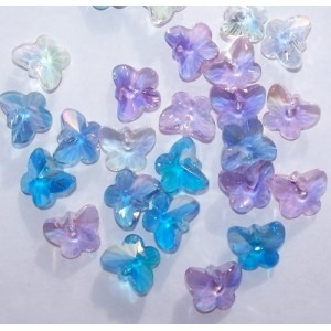 Bulk Pack - 15mm crystal AB butterfly pendants 50 pieces