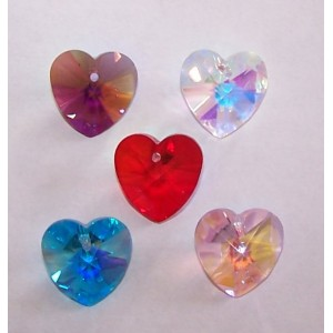 Bulk pack- 15mm crystal heart pendants 50 pieces