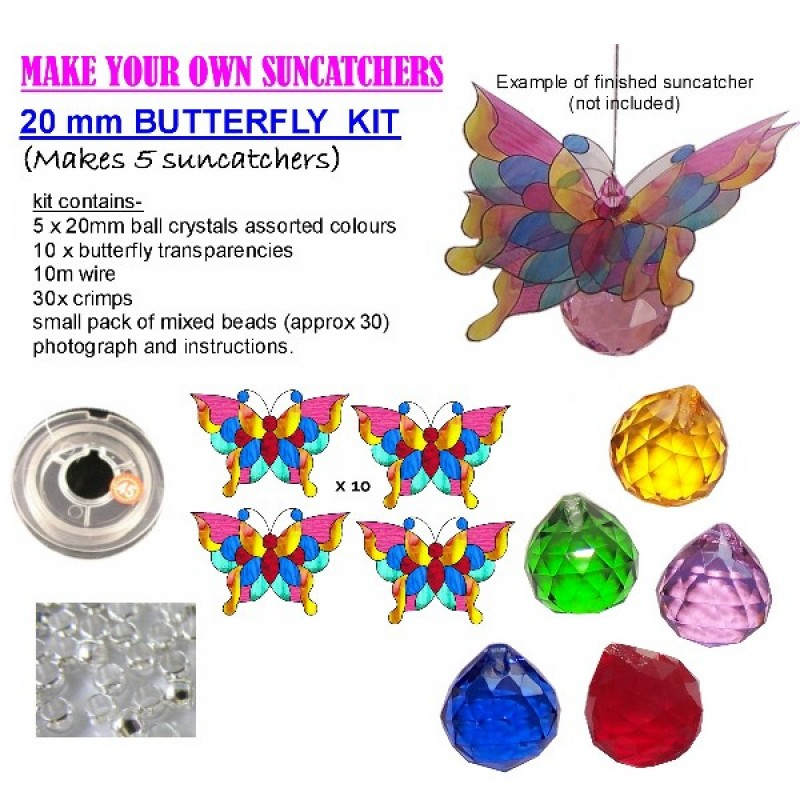 suncatcher kit- butterfly crystal balls- makes 5