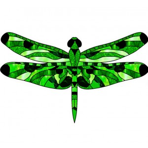 wing pack- leadlight dragonfly 1 green