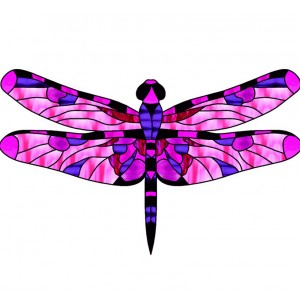 wing pack - leadlight dragonfly 1 pink